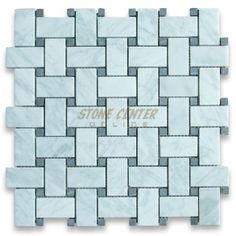 Carrara White 1x2 Basketweave Mosaic Tile w/ Black Dots Honed 10sf