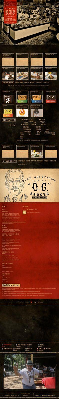 Unique Web Design, Banger's Austin via @kortneygail #Web #Design #Beer