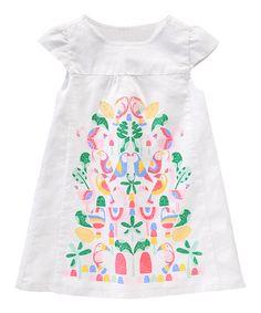 Gymboree White Embroidered Linen-Blend Dress