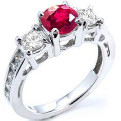 2.55 Carat (ctw) 18k White Gold Round Red Ruby And White Diamond Ladies Bridal Engagement Ring 2 1/2 CT - Dazzling Rock