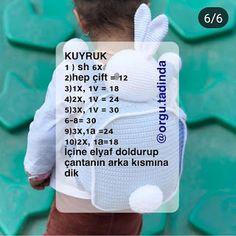 SIRT ÇANTA TARİFİ Easter Crochet Patterns, Owl Patterns, Sewing Patterns Free, Free Pattern, Crochet Frog, Love Crochet, Easy Crochet, Crochet Waffle Stitch, Amigurumi For Beginners