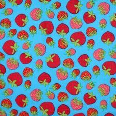 Kinderstoffe Baumwoll - Erdbeer Aqua