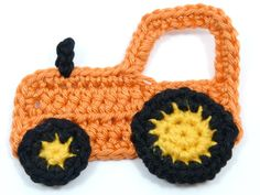 Crochet appliques, crochet, 1 large orange applique tractor, cardmaking, scrapbooking, appliques, craft embellishments, sewing accessories