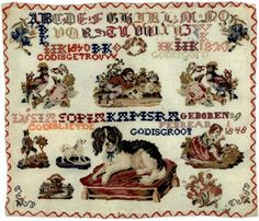 A Century Dutch Sampler Stitched By Lucia Sopia Kamstra & Dated 1860 Fries, Embroidery Sampler, Cross Stitch Samplers, Yesterday And Today, Needlework, Diy And Crafts, Give It To Me, Victorian, 19th Century