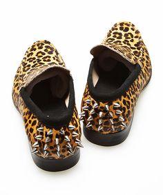 Leopard Studded heel Loafer