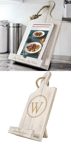 For the maid or matron of honor bridesmaid mom sister friend or anyone who loves to cook this antiqued white wood iPad and recipe book stand personalize with either a circled large single initial or custom line of print is a useful gift idea sure to Wood Projects, Woodworking Projects, Craft Projects, Projects To Try, Homemade Gifts, Diy Gifts, Cute Gifts, Best Gifts, Book Stands