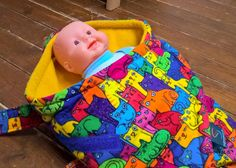 Soft doll bassinet with cats by Stoffenspinsels on Etsy