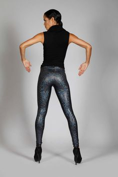 Black Hologram Leggings, Holographic Spandex Pants, Seapunk Stage Costume, Meggings, Gothic Glamour, Dark Sci Fi Club Wear, by LENA QUIST