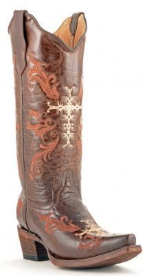 Womens Corral Cross Boots Chocolate #L5039 via @allen sutton Boots