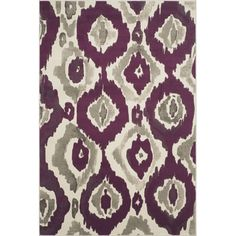 Safavieh Porcello Abstract Ogee Ivory/ Purple Rug x Beige Off-White, Size x (Polypropylene, Geometric) Purple Area Rugs, Washable Rugs, Modern Rugs, Woven Rug, Colorful Rugs, Rug Size, Vibrant Colors, Abstract, Ivory