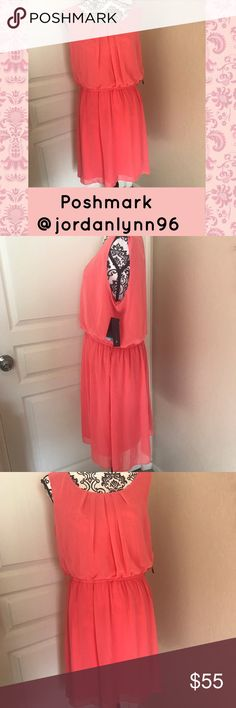 Sheer Coral Flowing Dress Brand New With Tags. Gorgeous coral dress. Light and comfortable. Perfect for many occasions. AB Studio Dresses