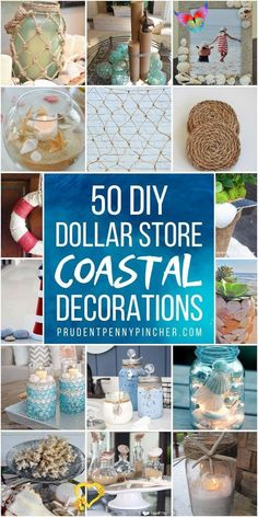 Add some coastal charm to your home this summer for less with these Dollar Store Coastal DIY Home Decor Ideas. From seashell candles to beach-themed wreaths, there are plenty of coastal and nautical decor ideas for the home on a budget.<br> Miami Beach, Palm Beach, Dollar Store Crafts, Dollar Stores, Dollar Dollar, Seashell Candles, Coastal Decor, Coastal Cottage, Coastal Homes