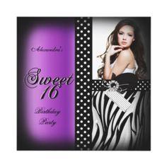 Sweet Sixteen 16 Party Purple Zebra Black Spot Invitation by Zizzago $2.25