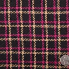 Italian Black and Magenta Wool-Blend Plaid