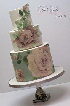 Roses Cake Cupcake Cookies, Cupcakes, Cool Cake Designs, Wafer Paper Cake, Hand Painted Cakes, Sugar Craft, Rose Cake, Edible Art, Fondant Cakes