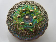 Vintage Buttons Czech  glass 1 beautiful large by pillowtalkswf, $4.00