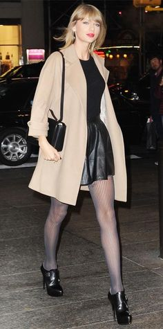 21 Chic Celebrity Looks That Have Us Saying Yes to Tights   InStyle.com Taylor Swift dined out in NYC in a flirty LBD, coupling it with a camel coat, muted gray tights, and buckled booties.
