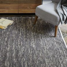 Painter's Cotton + Wool Rug - Feather Gray #westelm 6x9 $199. I think this would be good for the dining room.