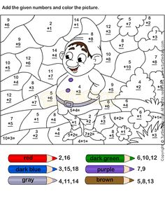 [Coloring Pages] kindergarten math coloring worksheets: Color By Adding Numbers Worksheet 7 - Turtle Diary Preschool Number Worksheets, Numbers Preschool, Preschool Math, Math Classroom, Kindergarten Math, Addition Worksheets, Kids Worksheets, Math Numbers, Coloring Pages For Girls