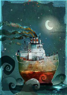illustration - Page 6 - nikao Art And Illustration, Watercolor Illustration Children, Deco Pirate, Art Fantaisiste, Whimsical Art, Folk Art, Fantasy Art, Concept Art, Art Drawings