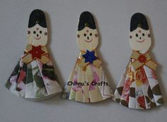 ICE CREAM STICK CRAFTS | Chinnu's Crafts: Wooden Ice Cream Stick- Indian Doll Craft Stick Crafts, Crafts For Kids, Diy Crafts, Ice Cream Stick Craft, Indian Dolls, Small Gifts, Craft Projects, Traditional, Christmas Ornaments