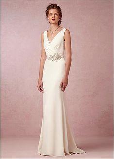 Chic Stretch Satin V-neck Neckline Natural Waistline Sheath Wedding Dress With Lace Appliques