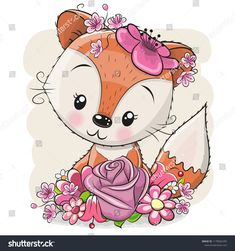 Cartoon Fox with flowerson a white background. Cute Cartoon Fox with flowers on a white background Stock Illustration Cartoon Cartoon, Kids Cartoon Characters, Cute Cartoon Animals, Cute Animals, Cute Cartoon Pictures, Cute Animal Pictures, Disney Drawings, Cute Drawings, Animal Graphic