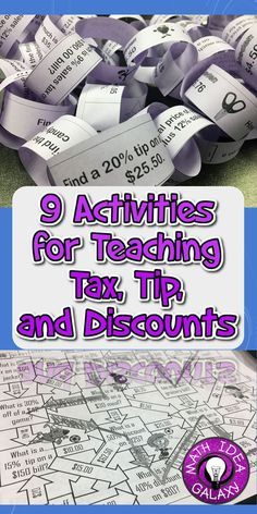 Interactive & engaging activities to use when teaching tax, tips, and discounts. Math 8, Math Fractions, Math Teacher, Math Classroom, Teaching Math, Teaching Ideas, Teacher Stuff, Classroom Ideas, Maths Fun