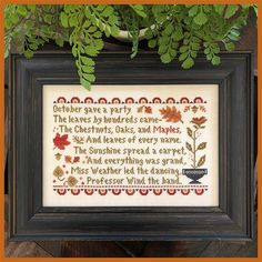 """Diane on Instagram: """"Just released, October's Party. Take time to read this fun verse! #littlehouseneedleworks #classiccolorworks #crossstitch."""" Cross Stitch Store, Small Cross Stitch, Cross Stitch Designs, Counted Cross Stitch Patterns, Little House Needleworks, Country Cottage Needleworks, Mill Hill Beads, Seasonal Celebration, Drawn Thread"""