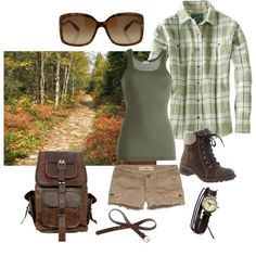 Cute hiking outfit by jumsgirl on Polyvore... For hiking though, a bit longer shorts than that!! .. Love the boots though !
