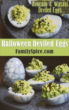 Avocado and Wasabi Halloween Deviled Eggs Avocado and Wasabi Halloween Deviled Eggs Laura Family Spice familyspice Fun Halloween Recipes and Crafts Add some spookiness to nbsp hellip Halloween Appetizers, Halloween Drinks, Halloween Dinner, Halloween Food For Party, Halloween Recipe, Women Halloween, Halloween Halloween, Halloween Food Recipes, Halloween Makeup