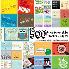 FREEBIES - 500 Free Printable Lunchbox Notes - Kids Activities Blog