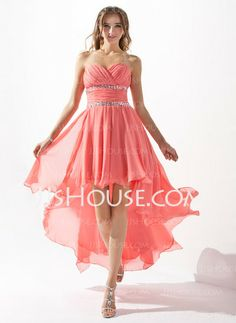 Homecoming Dresses - $132.50 - A-Line/Princess Sweetheart Asymmetrical Chiffon Homecoming Dress With Ruffle Beading (022009591) http://jjshouse.com/A-Line-Princess-Sweetheart-Asymmetrical-Chiffon-Homecoming-Dress-With-Ruffle-Beading-022009591-g9591