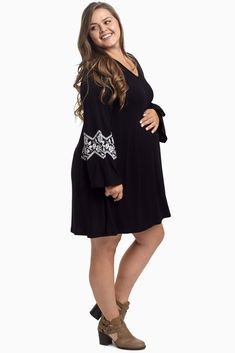 95158f9e7a9 Black Floral Accent Bell Sleeve Plus Size Maternity Dress