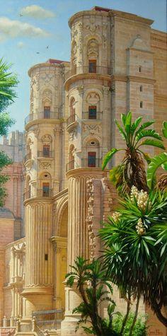 Fachada de una entrada lateral de la Catedral de Málaga