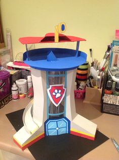 """My daughter loves Paw Patrol on Nick Jr! So I made her the lookout tower so she could play with her pup toys. """"Paw Patrol to the lookout!"""""""