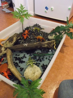 dino world-Tu Tamariki - Play Based Learning Sensory Boxes, Sensory Table, Sensory Play, Dinosaur Garden, Dinosaur Play, Dinosaur Small World, Small World Play, Reggio Emilia, Kindergarten Sensory