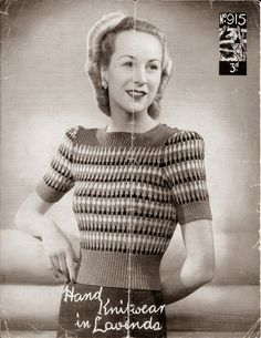 The Vintage Pattern Files: Free Knitting Pattern - Womens Rainbow Jumper Motif Vintage, Vintage Crochet Patterns, Loom Knitting Patterns, Vintage Knitting, Knitting Stitches, Free Knitting, Sewing Patterns, Knitting Tutorials, Sock Knitting
