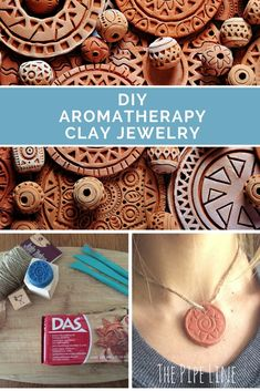 CLAY JEWELRY Make your own Aromatherapy jewelry with clay and essential oils!Make your own Aromatherapy jewelry with clay and essential oils! Clay Beads, Polymer Clay Jewelry, Ceramic Jewelry, Essential Oil Jewelry, Essential Oils, Diy Jewelry, Jewelry Making, Pendant Jewelry, Fashion Jewelry