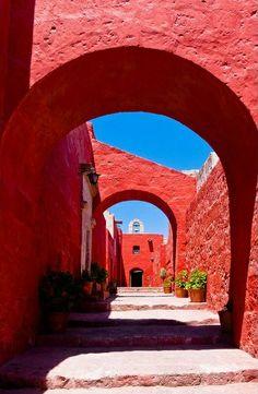 South America | Sevilla street, inside the Santa Catalina monastery of Arequipa, Peru | © Image Bank
