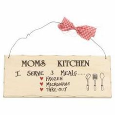 Wooden Sign Decor 10x4 in. Moms Kitchen I Serve 3 Meal Frozen Microwave Takeout  #Unbranded #Contemporary
