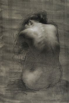 """Nadia"" by Juliette Aristides (b. 1971) discreet nude female posterior back anatomy charcoal on toned paper drawing, 2010."