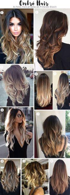 ombré hair platinado, perolado, em morenas, cacheadas, cabelos curtos e cabelos pretos.
