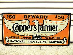 OLD VINTAGE CAPPERS FARMER $50 REWARD SIGN WESTERN CATTLE DRIVE COWBOY COW THEFT