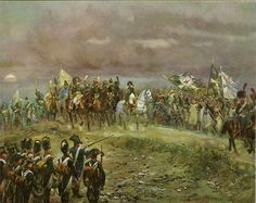 Napoleon after the battle of Jena, 14 Oct 1806.  The twin battles of Jena and Auerstedt (older name: Auerstädt) were fought on 14 October 1806 on the plateau west of the river Saale in today's Germany, between the forces of Napoleon I of France and Frederick William III of Prussia. The decisive defeat suffered by the Prussian Army subjugated the Kingdom of Prussia to the French Empire until the Sixth Coalition was formed in 1812.