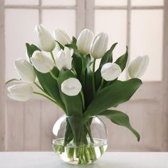 Modern Tulip Arrangements | ... White Tulip 15H in. Bubble Bowl Silk Flower Arrangement modern plants