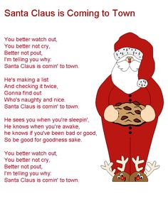 Santa Claus is Coming to Town lyrics Christmas Songs For Kids, Christmas Carols Songs, Christmas Songs Lyrics, Christmas Sheet Music, Christmas Poems, Preschool Christmas, Christmas Tree Themes, Christmas Fun, Christmas Cookies