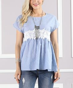 Take a look at this Blue & White Pinstripe Lace-Trim Tunic Top - Plus Too today!