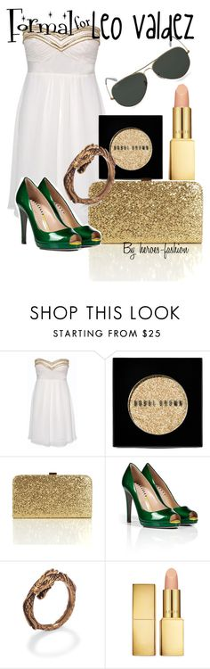 """""""Formal for Leo Valdez"""" by heroes-fashion ❤ liked on Polyvore featuring Elise Ryan, Bobbi Brown Cosmetics, Sergio Rossi, AERIN and Ray-Ban"""