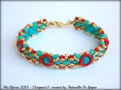 DIY Beading pattern Skinny bracelet with superDuo or Twin beads / PDF tutorial with detailed instructions, images and diagrams によく似た商品を Etsy で探す Woven Bracelets, Handmade Bracelets, Seed Bead Patterns, Beading Patterns Free, Super Duo Beads, Twin Beads, Peyote Beading, Beadwork, Homemade Jewelry